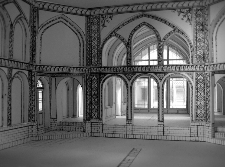 Model / Grand Hall / White model width handdrawings