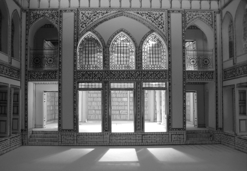 Model / Courtyard facade - The Library / White model with handdrawings